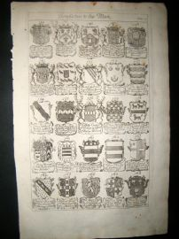 Richard Blome 1686 Folio Antique Print. Heraldry 7